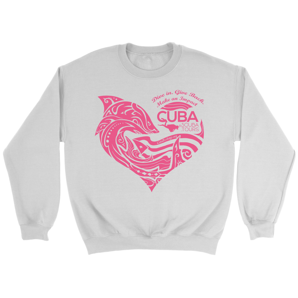 Crewneck Sweatshirt - Cuba Scuba Heart with Shark