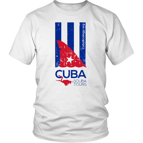 Ladies / Mens T-shirt - Distressed shark fin flag - CUBA SCUBA!
