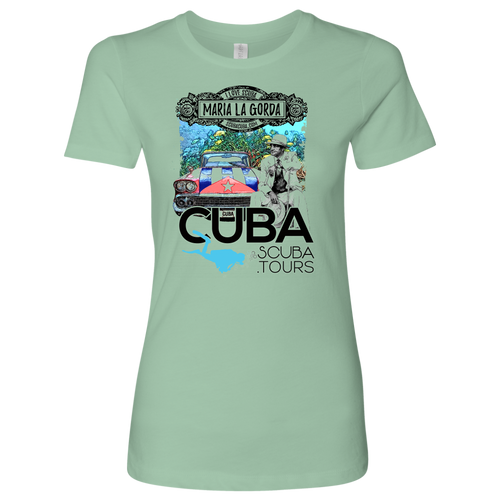 Ladies' Tee - Maria la Gorda Antique Car with Flag