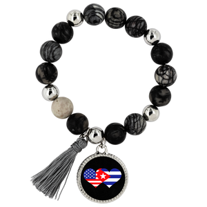 Stone & Onyx Beaded Bracelet - We HEART Cuba (black charm)