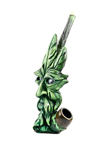 Ceramic Green Leaf Head Hand Pipe