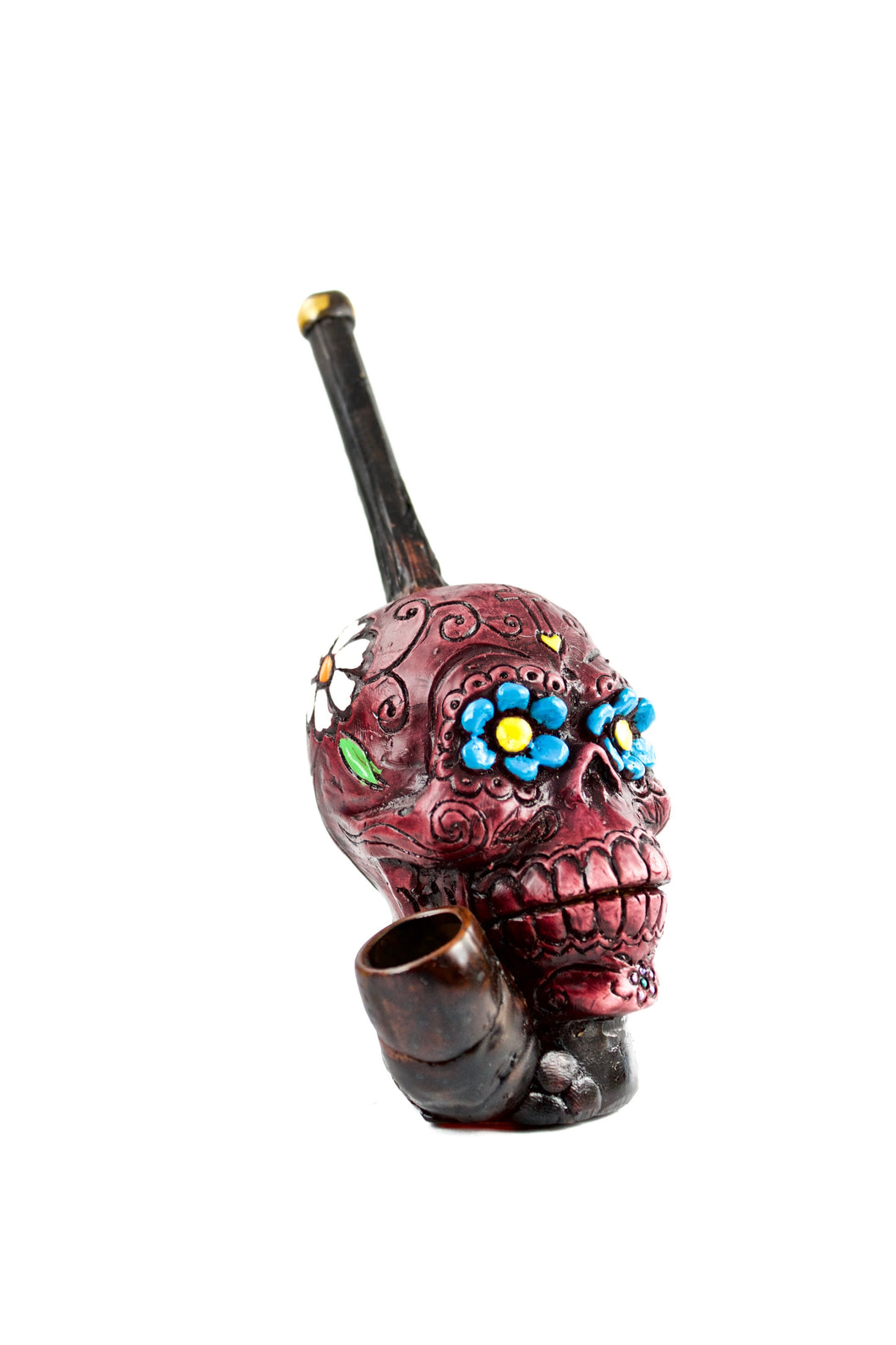 Ceramic Flower Skull Hand Pipe
