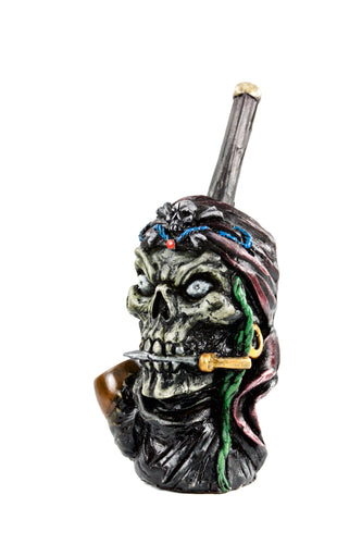 Ceramic Pirate Skull Hand Pipe