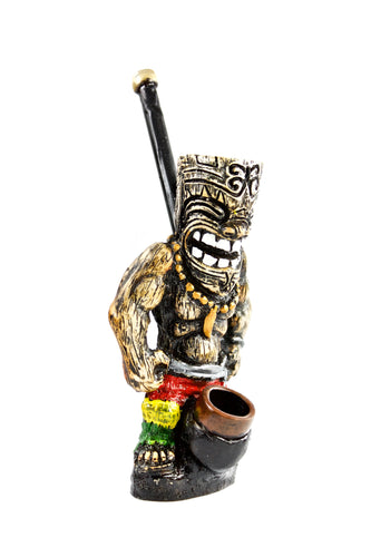 Ceramic Tiki Man Hand Pipe