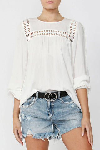 Janelle Lace Trim Blouse