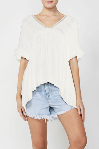 Veronica Textured Vneck Blouse