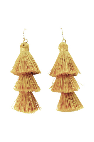 Ava Triple Tassel Earring