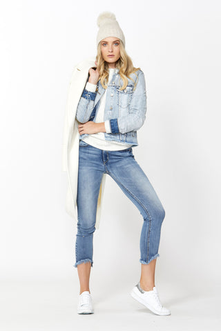 Nina Raw Hem Denim Jacket
