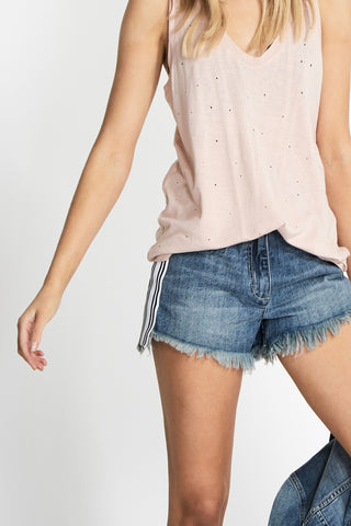 Luxe Side Stripe Denim Short