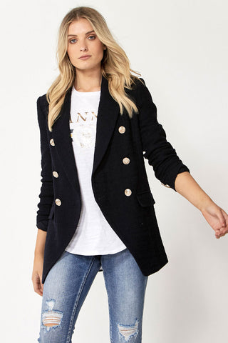 Carly Textured Longline Blazer