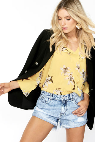 Ophelia Printed Wrap Blouse