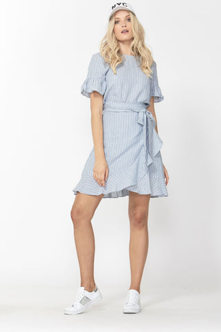 Maya Linen Ruffle Wrap Dress