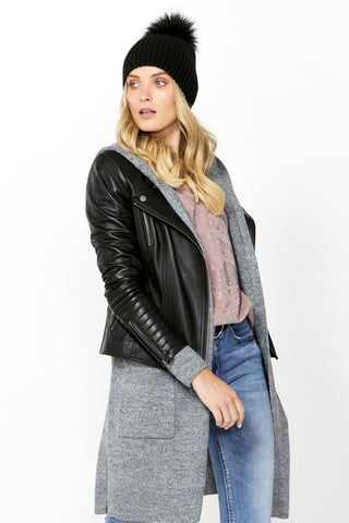 Liv Collarless Leather Biker