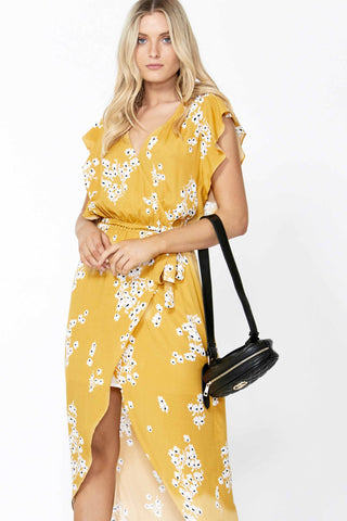 Hazel Ruffle Wrap Maxi Dress