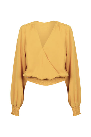 Natalie Shirred Wrap Top