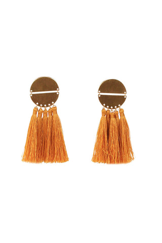 Jasmine Disc Tassel Earrings