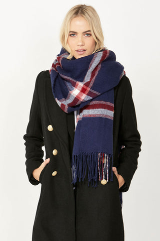 Paris Tassel Check Scarf