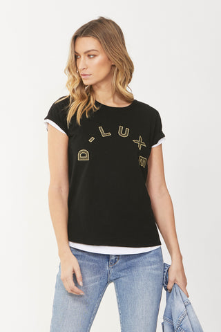 Luxe Embroidered Logo Tee