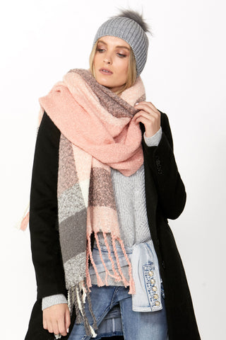 Phoebe Check Textured Scarf