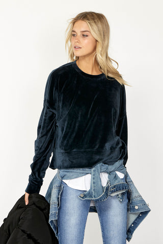 Luxe Ruched Velour Sweat