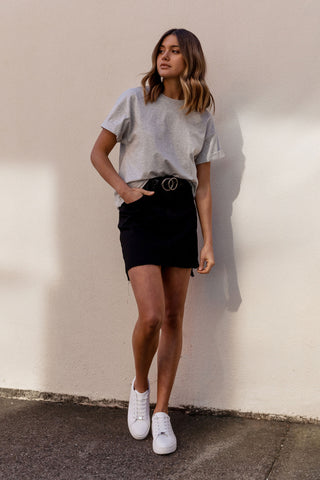 Gina Stepped Hem Denim Skirt