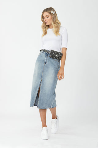 Blaire Denim Midi Skirt
