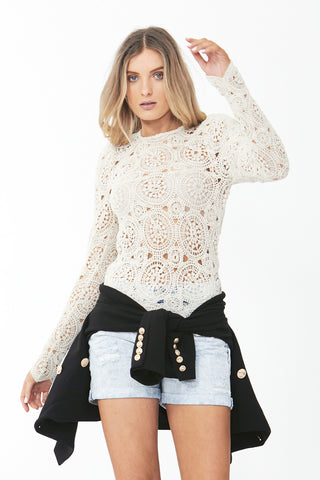 Ellie Crochet Puff Sleeve Top