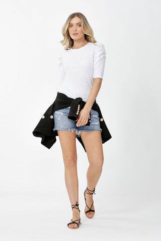 Bella Ruched Sleeve Tee