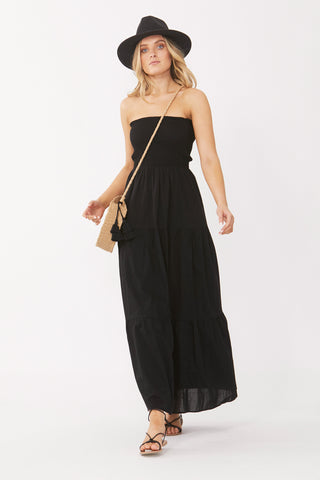 Ebony Shirred Midi Dress