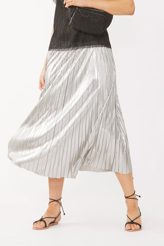Lilly Metallic Pleated Skirt
