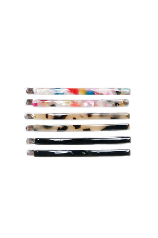 Thin Resin Hair Clips 6 Pack