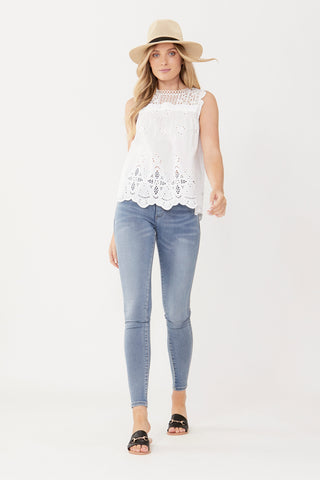 Cassia Broderie and Lace Top