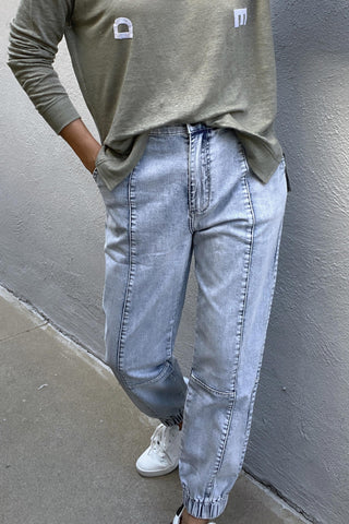 D-Luxe Denim Panelled Jogger