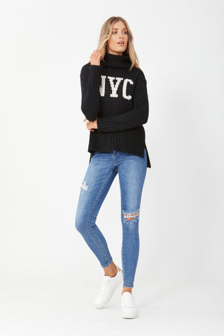 NYC Text High Neck Knit
