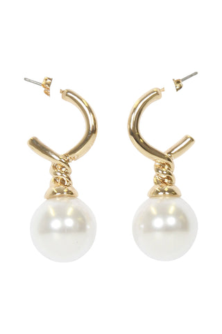 Halo Hoop Pearl Earrings