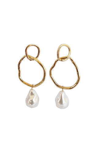 Ivy Dual Circle Pearl Earrings