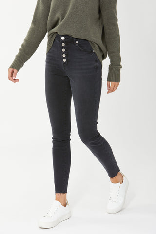 Evie Button High Rise Skinny