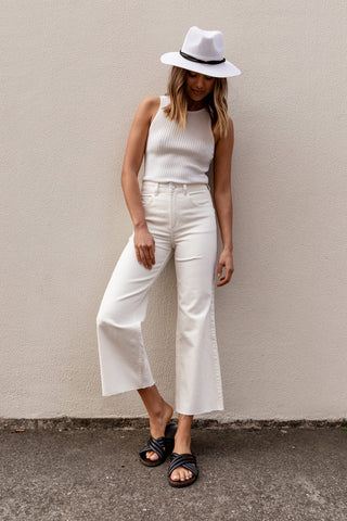 Oxford Wide Leg Crop Pant