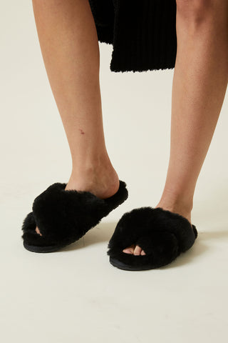 D-Luxe Trish Faux Fur Slide