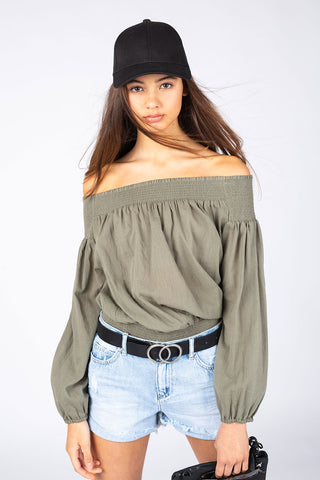 Kids Off Shoulder Crop Top