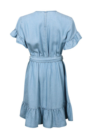 Kids Chambray Wrap Tie Dress