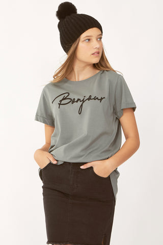 Kids Bonjour Embroidery Tee