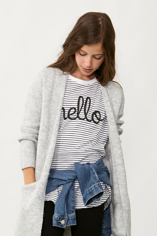 Girls Hello Stripe Tee