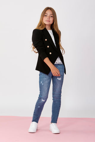 Girls Ella Button Fly Jean