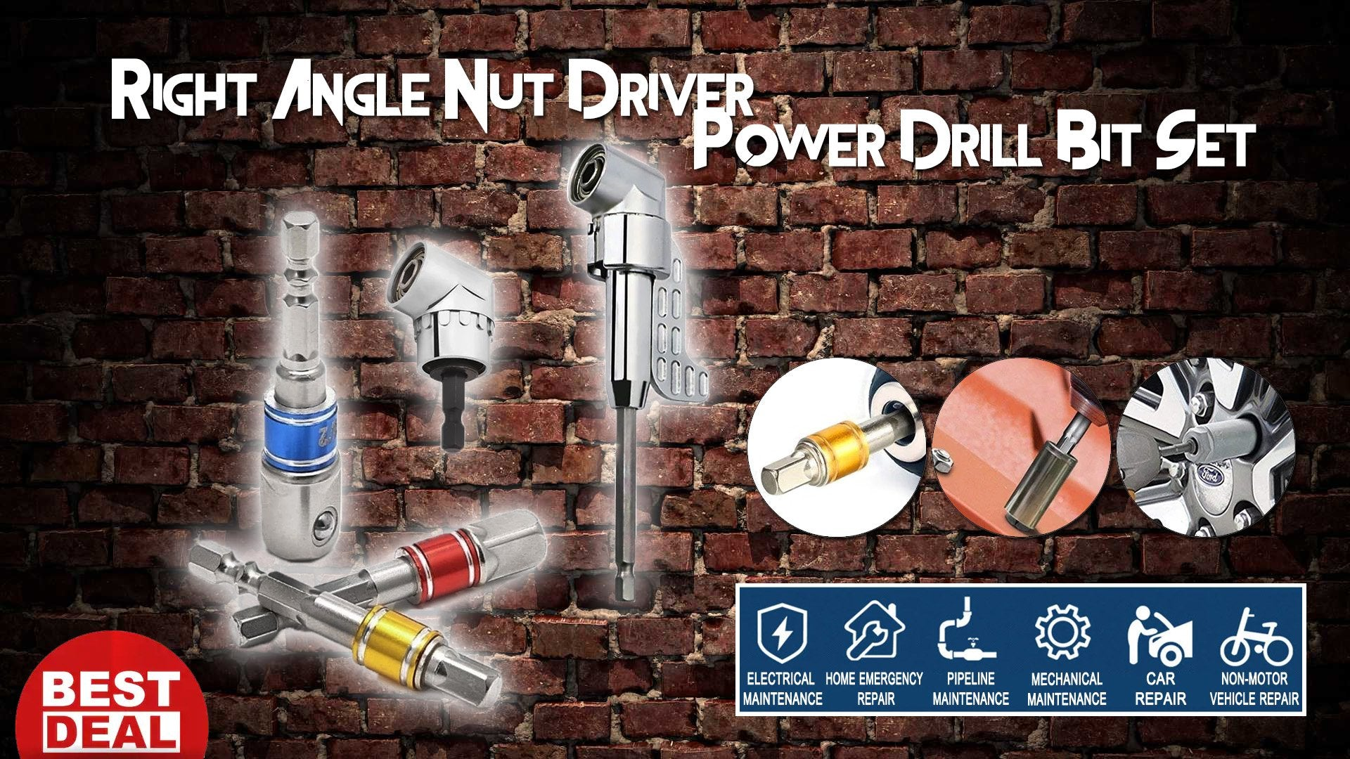 Right Angle Nut Driver Power Drill Bit Set - 50% OFF TODAY ONLY!