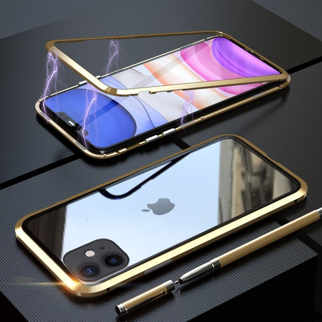 Luxury 360 Magnetic Case For iPhone 11 Pro XS MAX X 6 6S 7 8 Plus XR Coque Metal Phone Cover Two Side Tempered Glass Funda Case