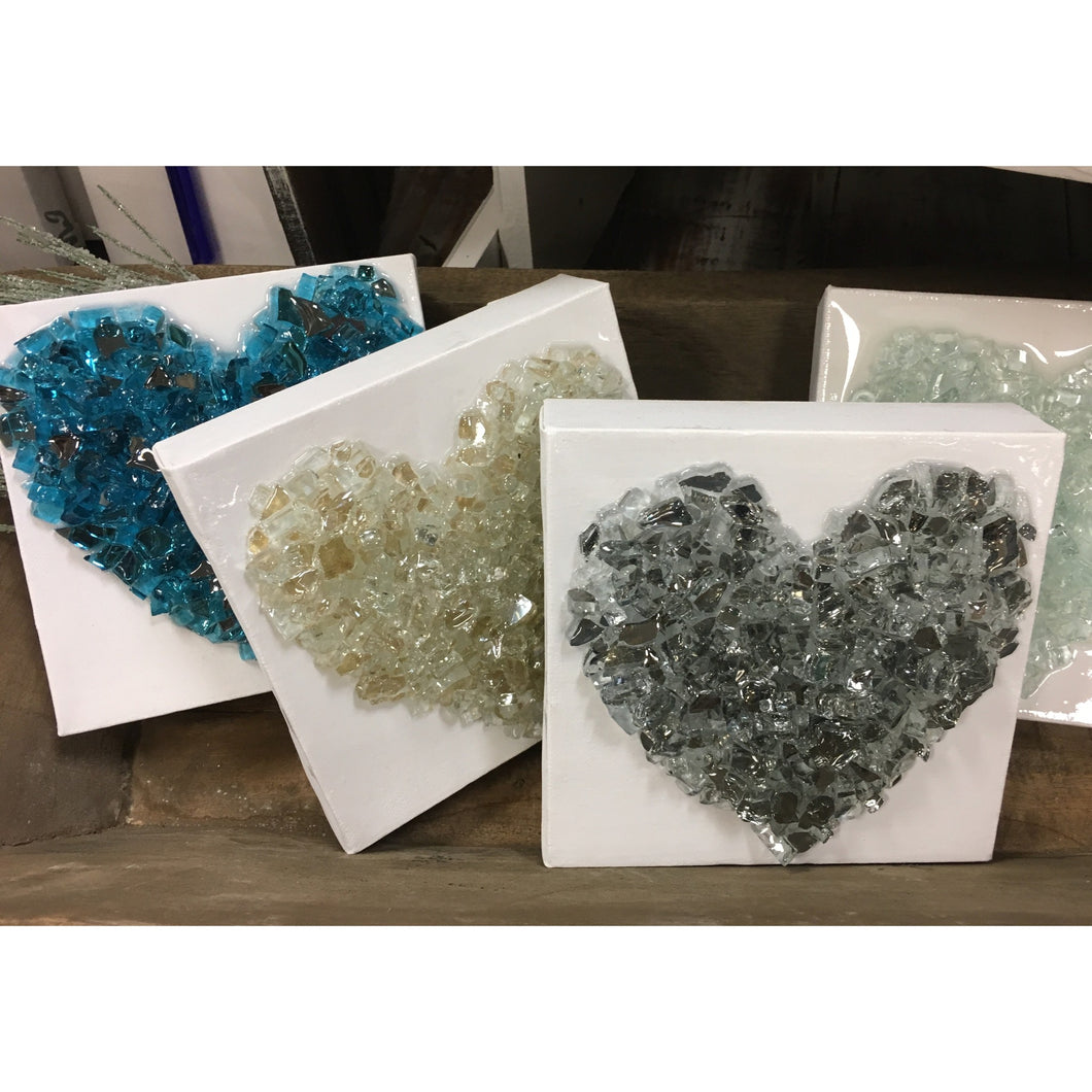 Crushed Glass Hearts 6 x 6