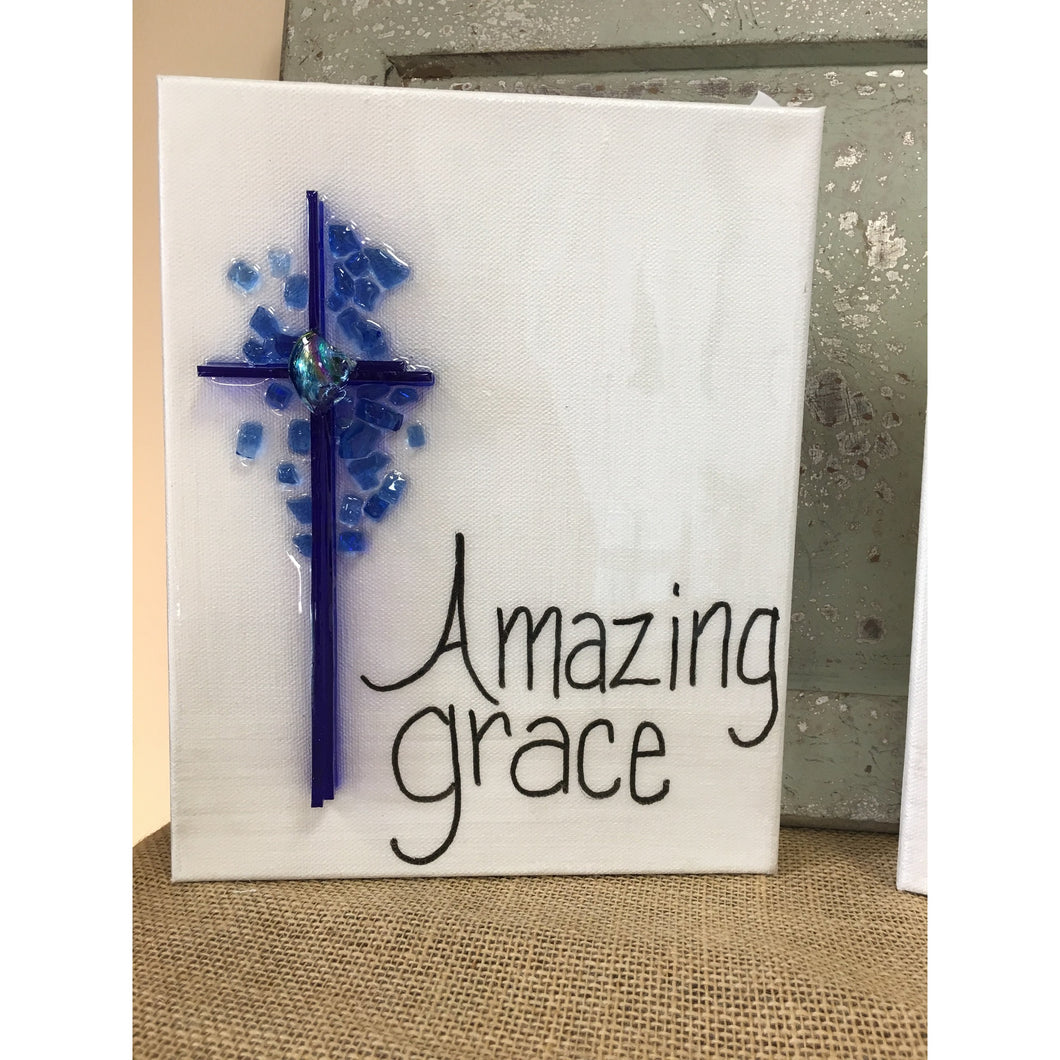 Amazing Grace Cross - cobalt 8 x 10