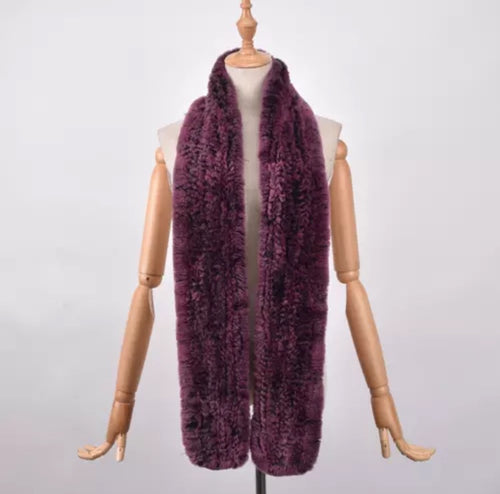 RABITTO- REX RABBIT FUR SCARF- BROWNPINK
