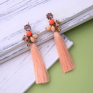 AMELIA- CORAL, BLING AND TASSEL EARRINGS